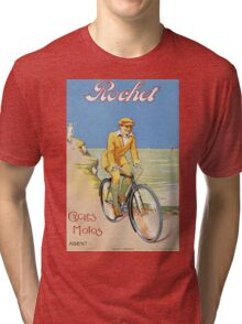 Unknown - Rochet Cycles Motos Poster. Man portrait: strong man,  bicycle ,  bicycling ,  cycle,  cycling,  enjoy,  free time,  fun,  hobbies,  hobby,  holiday Tri-blend T-Shirt