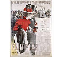 Unknown - Strassburger Strassenbahnen Fahrplan Poster. People portrait: woman and man, travel,  europe,  transport,  men,  women,  vintage art,  transportation  ,   hats,   trains,  strasbourg Photographic Print
