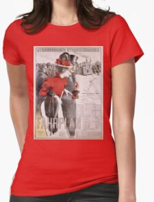 Unknown - Strassburger Strassenbahnen Fahrplan Poster. People portrait: woman and man, travel,  europe,  transport,  men,  women,  vintage art,  transportation  ,   hats,   trains,  strasbourg Womens Fitted T-Shirt