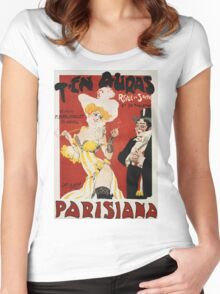 Unknown - T En Auras, Parisiana Poster. Woman portrait: sensual woman, Women,  Hats,  French Culture ,  Theaters,  Dresses,  Smoking,  Cigars ,  Cigarettes,  Antiques,  Gloves Women's Fitted Scoop T-Shirt