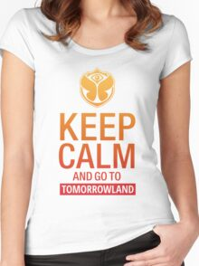 Keep Calm and go to Tomorrowland - Yellow gradient Women's Fitted Scoop T-Shirt