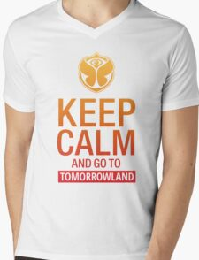 Keep Calm and go to Tomorrowland - Yellow gradient Mens V-Neck T-Shirt