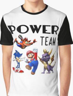 Gaming Power Team: Mario, Crash, Spyro, Sonic Graphic T-Shirt