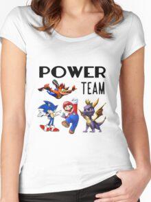 Gaming Power Team: Mario, Crash, Spyro, Sonic Women's Fitted Scoop T-Shirt