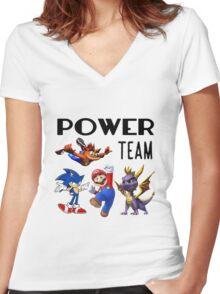 Gaming Power Team: Mario, Crash, Spyro, Sonic Women's Fitted V-Neck T-Shirt