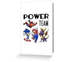 Gaming Power Team: Mario, Crash, Spyro, Sonic Greeting Card