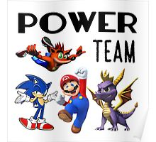 Gaming Power Team: Mario, Crash, Spyro, Sonic Poster