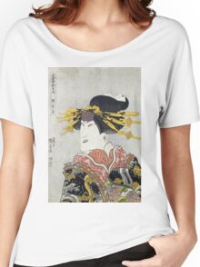 Utagawa Kunisada - Nakamura Matsue Iii. Woman portrait: sensual woman, geisha, kimono, courtesan, silk, beautiful dress, umbrella, wig, lady, exotic, beauty Women's Relaxed Fit T-Shirt