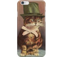 Unknown - Cat Wearing A Hat. Cat portrait: cat, whiskered, striped, important, clever, proud, fat, fashionable, stylish, hat, bow iPhone Case/Skin
