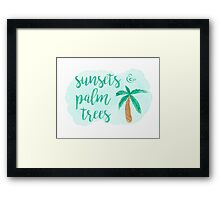 Summer Beach Quote Sunsets and Palm Trees Framed Print