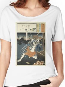 Utagawa Kunisada - Poem Illustration From A Series Of 36. Man portrait: strong man,  samurai ,  hero,  costume,  kimono,  tattoos ,  sport,  sumo, manly, sexy men, macho Women's Relaxed Fit T-Shirt