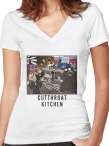 Cutthroat Kitchen Doodle Women's Fitted V-Neck T-Shirt