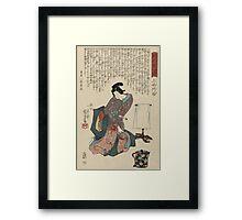 Utagawa Kunisada - Ueshima Monya From The Series The Forty-Seven Ronin. Woman portrait: woman, geisha, kimono, dream, feeling, umbrella, dress, fashion , female, makeup, wig Framed Print