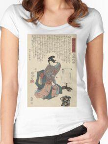 Utagawa Kunisada - Ueshima Monya From The Series The Forty-Seven Ronin. Woman portrait: woman, geisha, kimono, dream, feeling, umbrella, dress, fashion , female, makeup, wig Women's Fitted Scoop T-Shirt