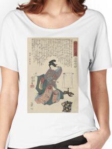 Utagawa Kunisada - Ueshima Monya From The Series The Forty-Seven Ronin. Woman portrait: woman, geisha, kimono, dream, feeling, umbrella, dress, fashion , female, makeup, wig Women's Relaxed Fit T-Shirt