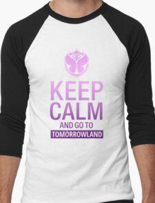 Keep Calm and go to Tomorrowland - Purple gradient Men's Baseball ¾ T-Shirt