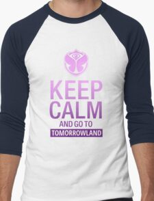 Keep Calm and go to Tomorrowland - Purple gradient Men's Baseball ¾ T-Shirt