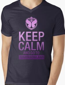 Keep Calm and go to Tomorrowland - Purple gradient Mens V-Neck T-Shirt