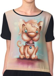 Cute Colorful Puppy Dog Chiffon Top