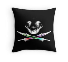 The Cat Is Out Of Time Throw Pillow