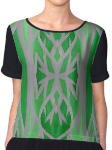 Grey and Green Tree Pattern Chiffon Top