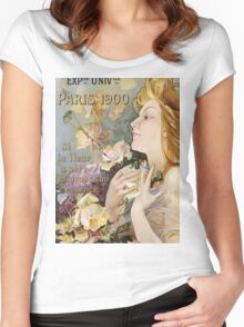 Unknown - Grand Prix Poster. Woman portrait: sensual woman,  attractive,  beautiful ,  brunette ,  cheerful,  glad ,  happy,  head and shoulders,  hugging,  pleasing,  pleasure Women's Fitted Scoop T-Shirt