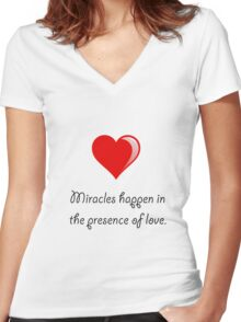 Miracles Love Women's Fitted V-Neck T-Shirt