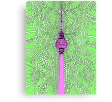 Fernsehturm Drawing Meditation - green Canvas Print