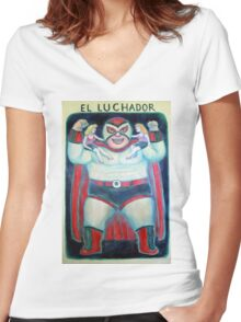 El Luchador Women's Fitted V-Neck T-Shirt