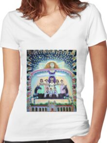 Angel of Day and Night Women's Fitted V-Neck T-Shirt