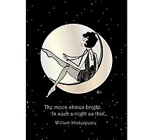 Swinging on the Moon with Shakespeare Quote Photographic Print