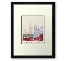 Marseille skyline poster Framed Print