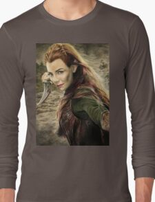 Tauriel Portrait- The Hobbit, Desolation of Smaug Long Sleeve T-Shirt