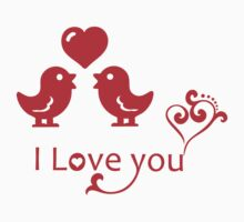 Red I Love You Romantic Birds Design One Piece - Short Sleeve