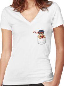 Pocket Ryu Women's Fitted V-Neck T-Shirt