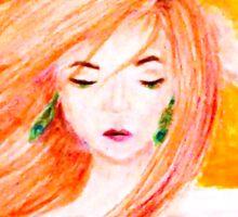 Woman's Portrait in Orange Sticker