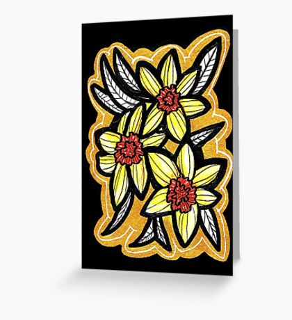 daffodils x gold Greeting Card