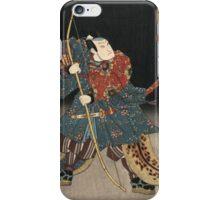 Utagawa Kunisada - An Actor In The Role Of Saitogo Kunitake. Man portrait:  actor ,  mask,  face,  man ,  samurai ,  hero,  costume,  kimono,  tattoos,  theater,  shows iPhone Case/Skin
