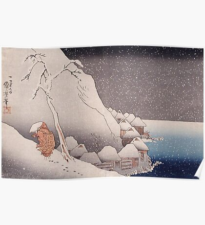 Utagawa Kuniyoshi - Snow At Tsukahara, Sado Island, 1271. Mountains landscape: mountains, rocks, rocky nature, sky and clouds, trees, peak, forest, rustic, hill, travel, hillside Poster