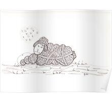 Tangled Sleepy Sheep Poster