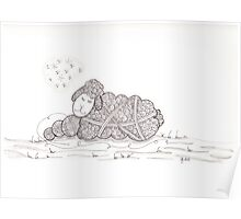Tangled Sleepy Sheep Poster