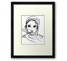 Smoking with headscarf Framed Print