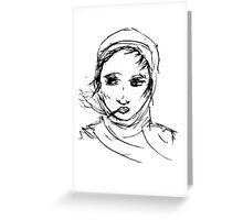 Smoking with headscarf Greeting Card