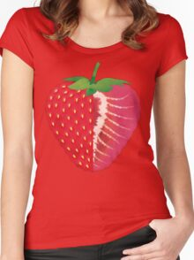 Strawberry (yellow) - Natural History Fruits Women's Fitted Scoop T-Shirt