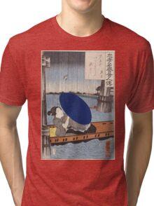Utagawa Kuniyoshi - A Young Woman With A Blue Open Umbrella In A Boat Between Wooden Bridge Supports. Woman portrait: sensual geisha, kimono, courtesan, beautiful dress, wig, lady, exotic, beauty Tri-blend T-Shirt