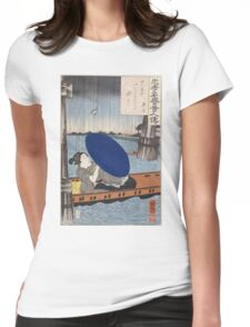 Utagawa Kuniyoshi - A Young Woman With A Blue Open Umbrella In A Boat Between Wooden Bridge Supports. Woman portrait: sensual geisha, kimono, courtesan, beautiful dress, wig, lady, exotic, beauty Womens Fitted T-Shirt