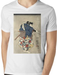Utagawa Kuniyoshi - An Actor In The Role Of Kurando Yukinaga. Man portrait:  actor ,  mask,  face,  man ,  samurai ,  hero,  costume,  kimono,  tattoos,  theater,  shows Mens V-Neck T-Shirt