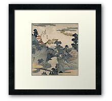 Utagawa Kuniyoshi - Fuji No Yukei (An Evening View Of Fuji). Country landscape: village view, country, buildings, house, rustic, farm, field, countryside road, trees, garden, flowers Framed Print
