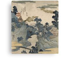 Utagawa Kuniyoshi - Fuji No Yukei (An Evening View Of Fuji). Country landscape: village view, country, buildings, house, rustic, farm, field, countryside road, trees, garden, flowers Canvas Print
