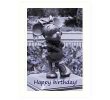 Minnie Happy Birthday (Blue) Art Print